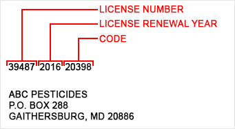 Postcard showing License Number and Code
