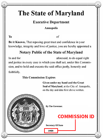 maryland office of the secretary of state notary division